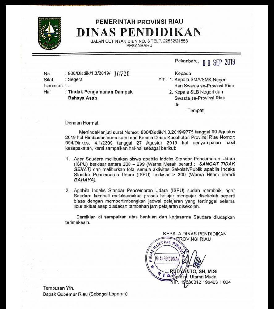 JDIH - Pemerintah Provinsi Riau | Disdik Riau Keluarkan ...